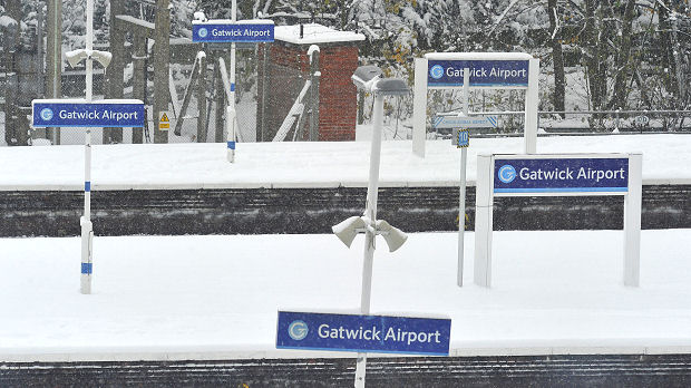 Empty platforms are seen at Gatwick airport rail station in south England