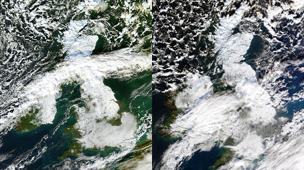 Two satellite images, courtesy of NEODAAS / University of Dundee, showing the spread of snow from 6 Dec (left) to 7 Dec (right).