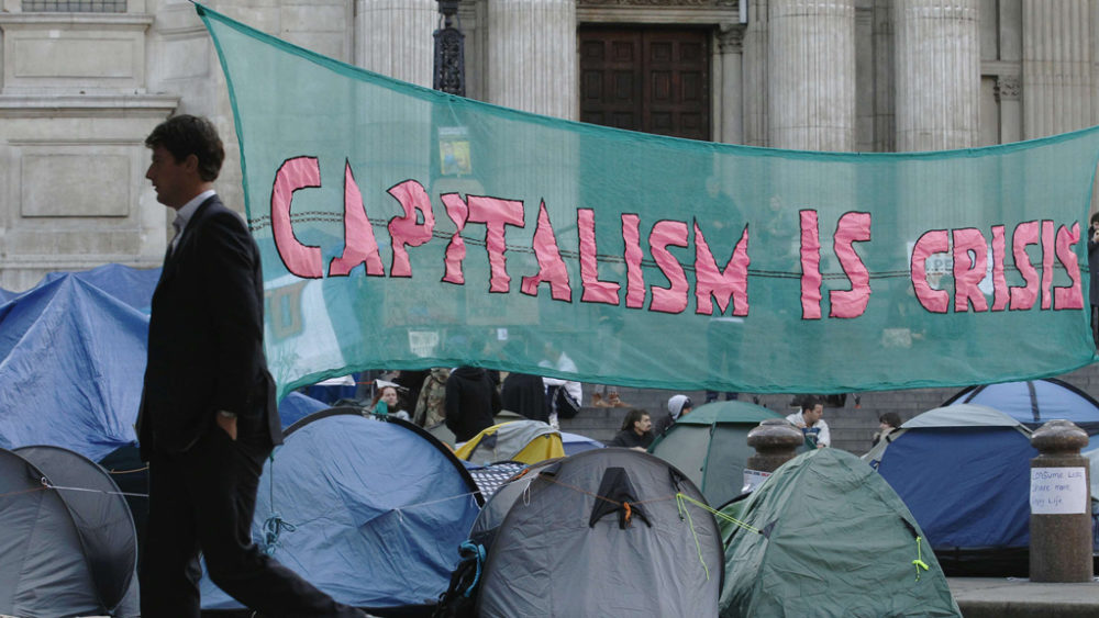 Anti-capitalist protesters say they will not give up until the government says there will be change (Reuters).