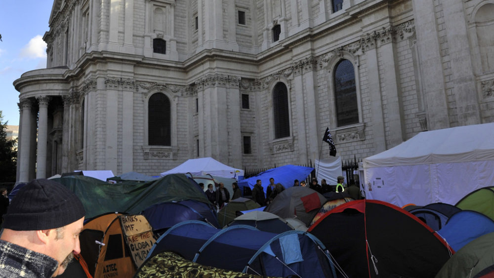 Protesters have set up tents outside St Paul's Cathedral in London (Reuters).
