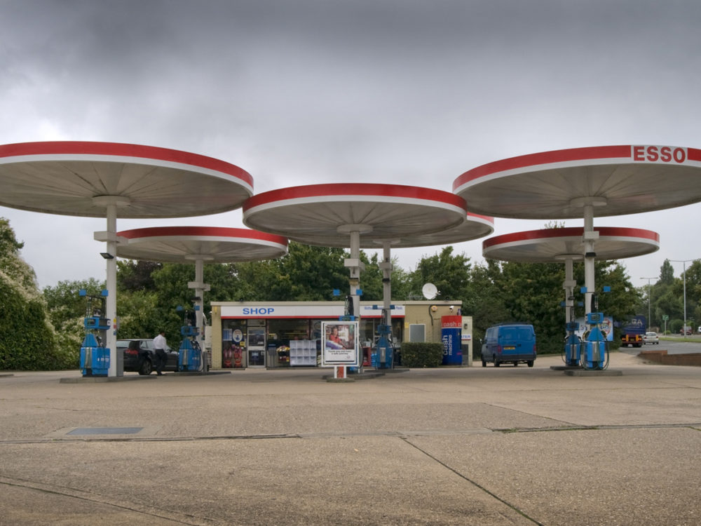 Mobil parasol canopies: Just off the A6 at Red Hill, Leicestershire, the circular Mobil canopies at this petrol station conjure up an era when motorways were full of futuristic glamour. They were designed by the American modernist architect, Elliot Noyes in the late 1960s.