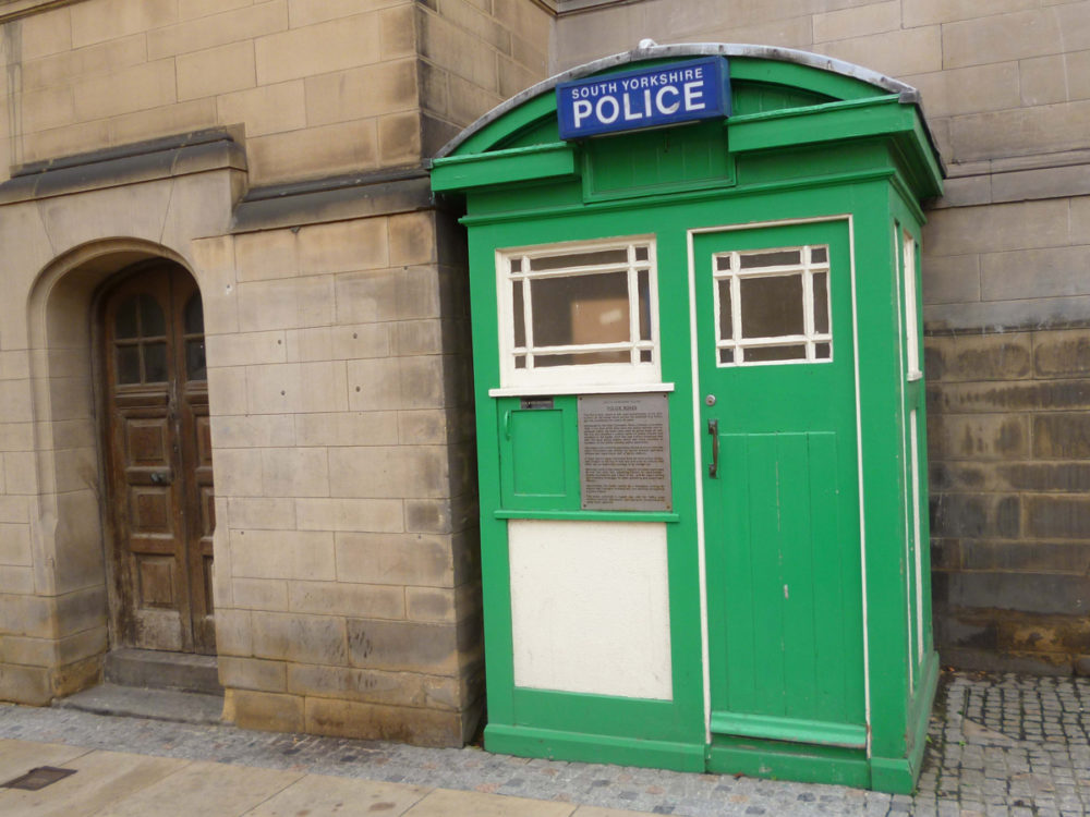 This police box on Surrey Street, is one of 120 built throughout Sheffield in 1928 which were designed to allow police constables to work away from the police station during their beat.