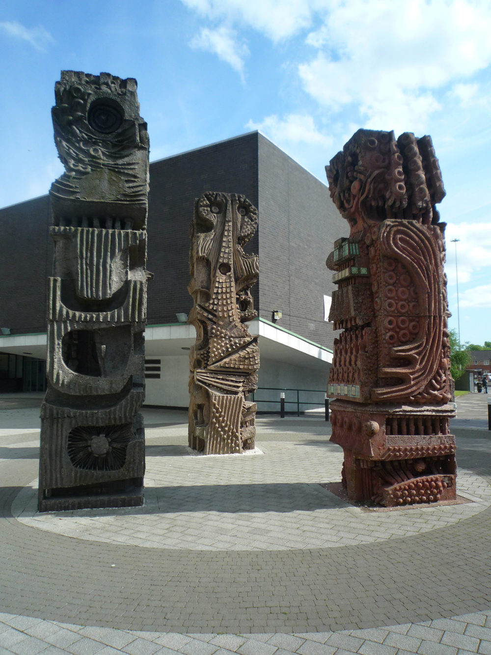 Trio of totems: Built by William Mitchell for the University of Salford in 1966, these totems are preserved as an example of the commissioning of public artwork in the post-war period.