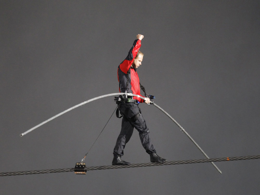 ABC insisted he wear a safety harness and threatened to cut the cameras if Wallenda removed it. (Reuters).