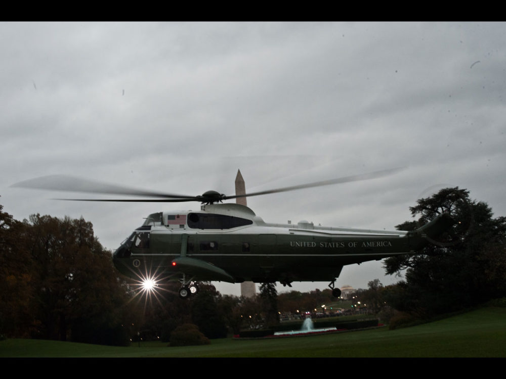 Marine One carrying US President Barack Obama takes off from the south lawn of the White House in Washington as the president departs for a campaign trip to Florida.