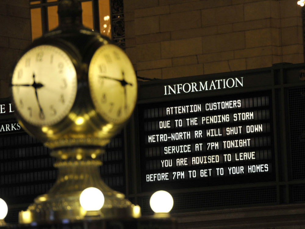 A sign on dispay in Grand Central Station in New York. The MTA has been began an orderly shutdown of commuter rail and subway services in preparation for Hurricane Sandy.