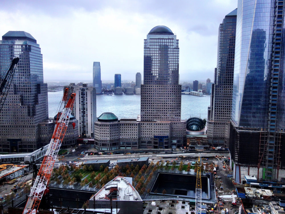 Ground Zero, the morning after, viewed from Dai Baker's hotel room. All rights reserved Dai Baker.