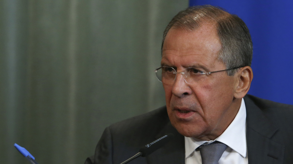 Russia's Foreign Minister Lavrov attends a news conference after a meeting with his Syrian counterpart al-Moualem in Moscow
