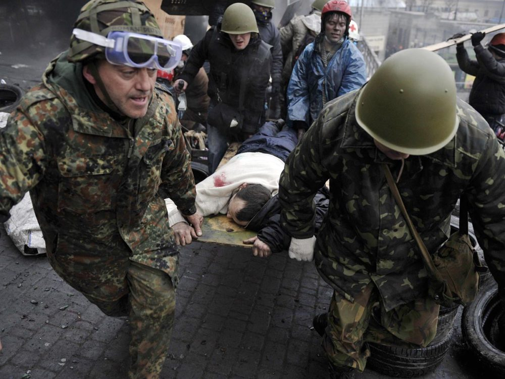 Channel 4 News Europe Editor Matt Frei, in Kiev, has seen scores injured as well as dead bodies on the ground of the square.