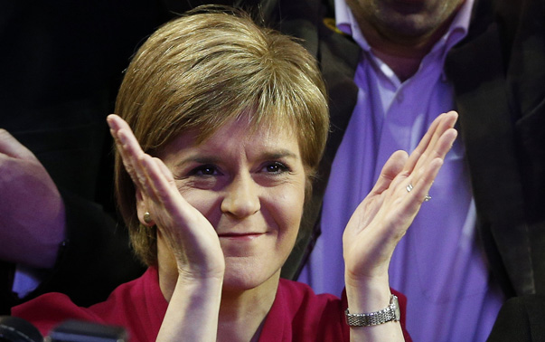 Nicola Sturgeon leader of the Scottish National Party celebrates results at a counting centre in Glasgow