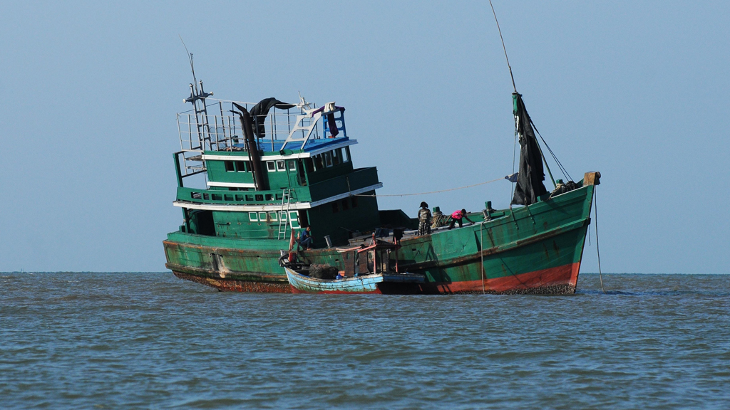 Rohingya migrants carrier boat in Aceh, Indonesia
