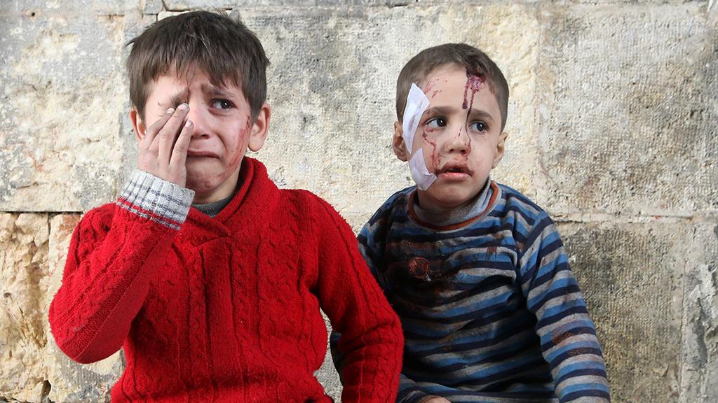 Injured boys at a field hospital after airstrikes on the rebel held areas of Aleppo, Syria November 18, 2016.