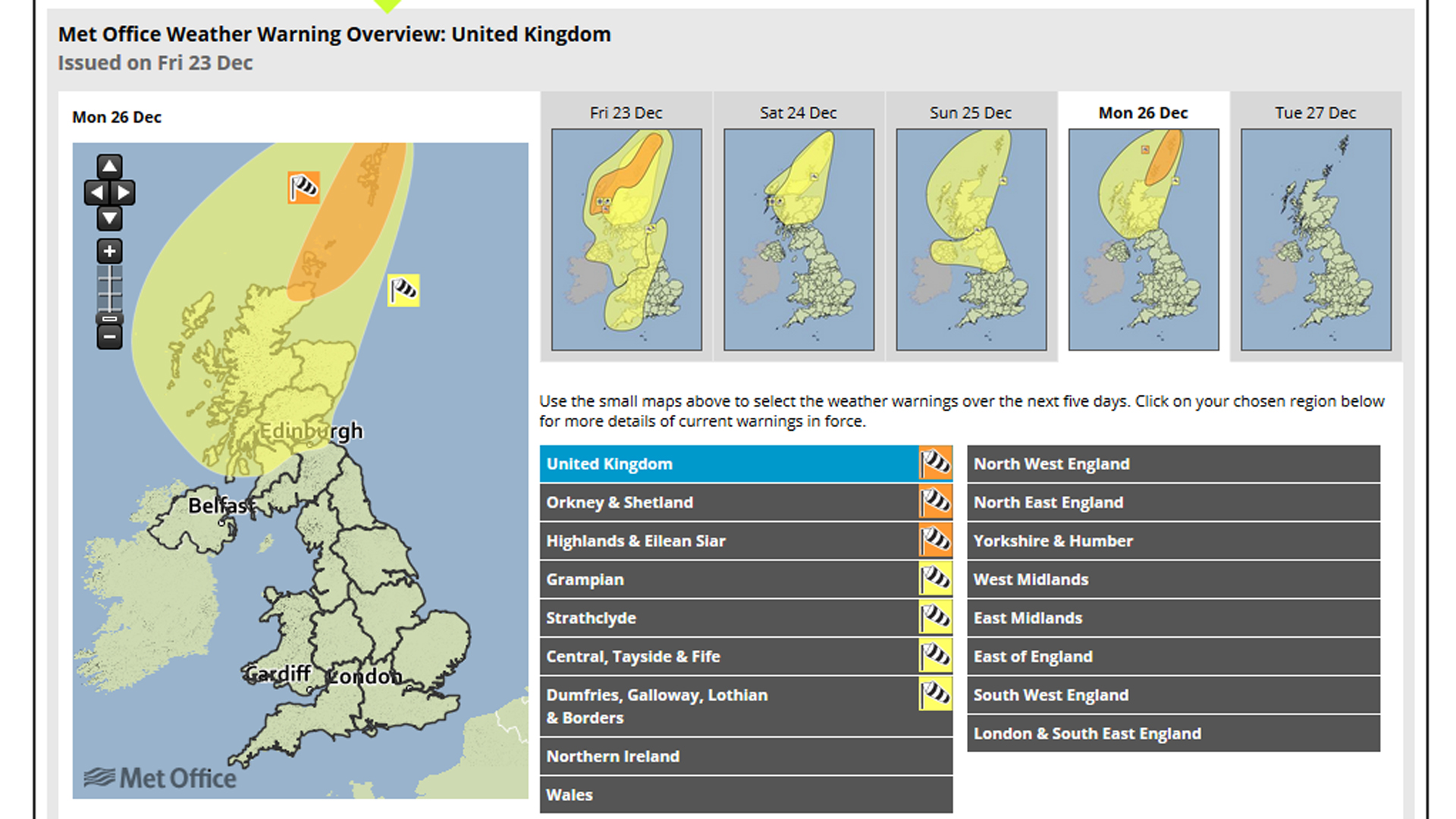Met Office warnings