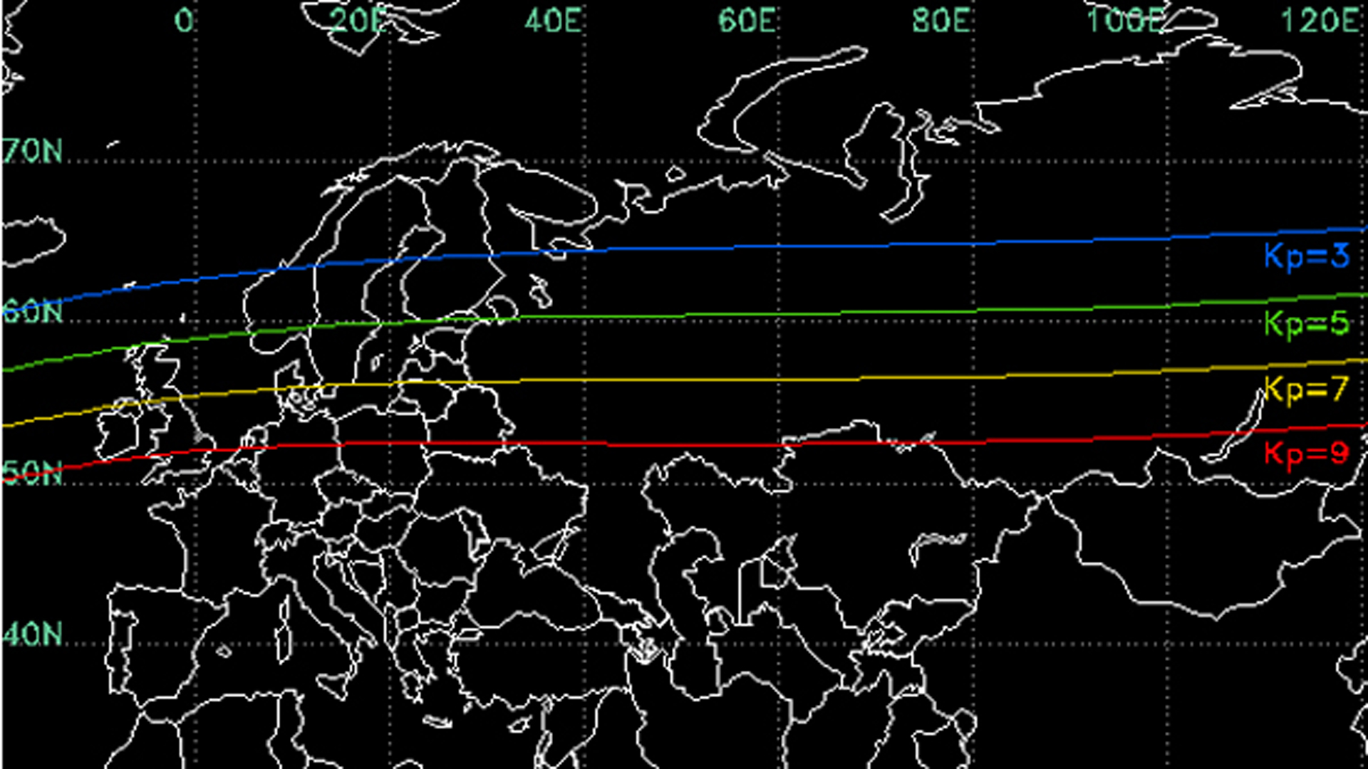 Geomagnetic storm Kp number map