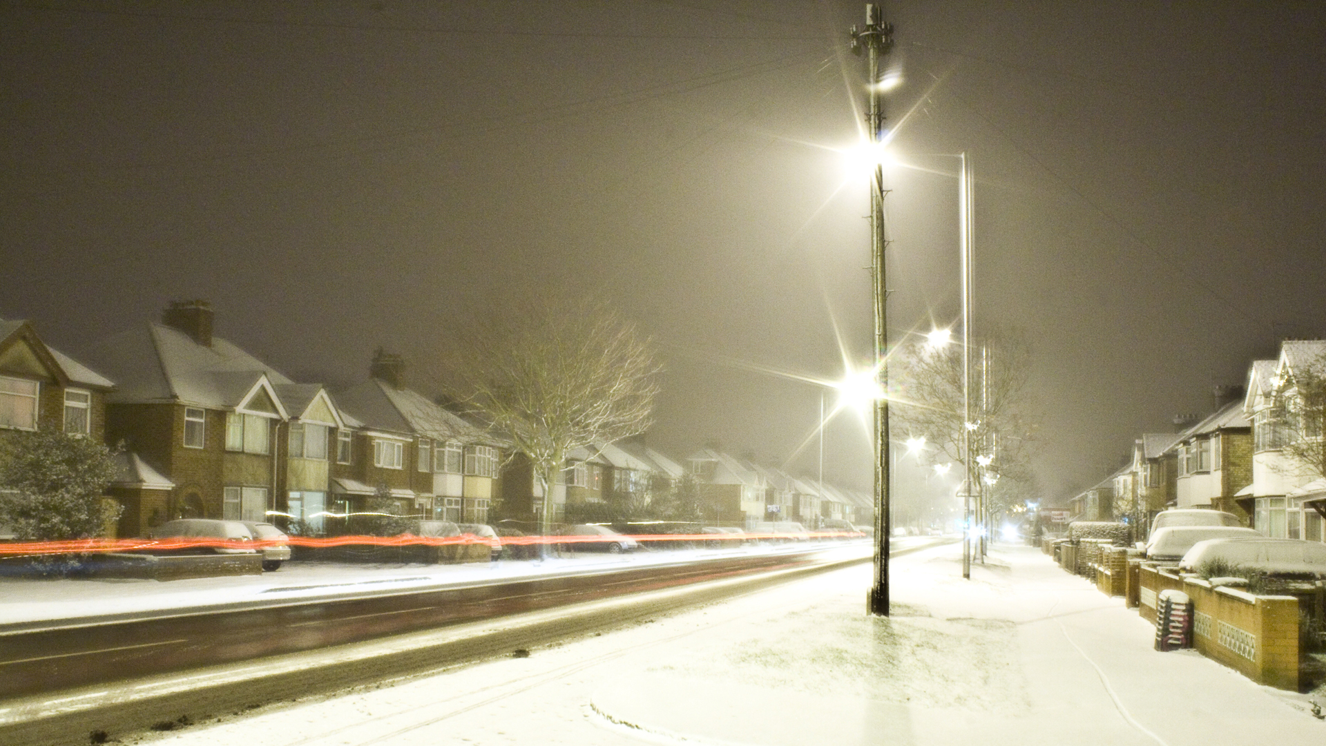 Traffic at night in snow