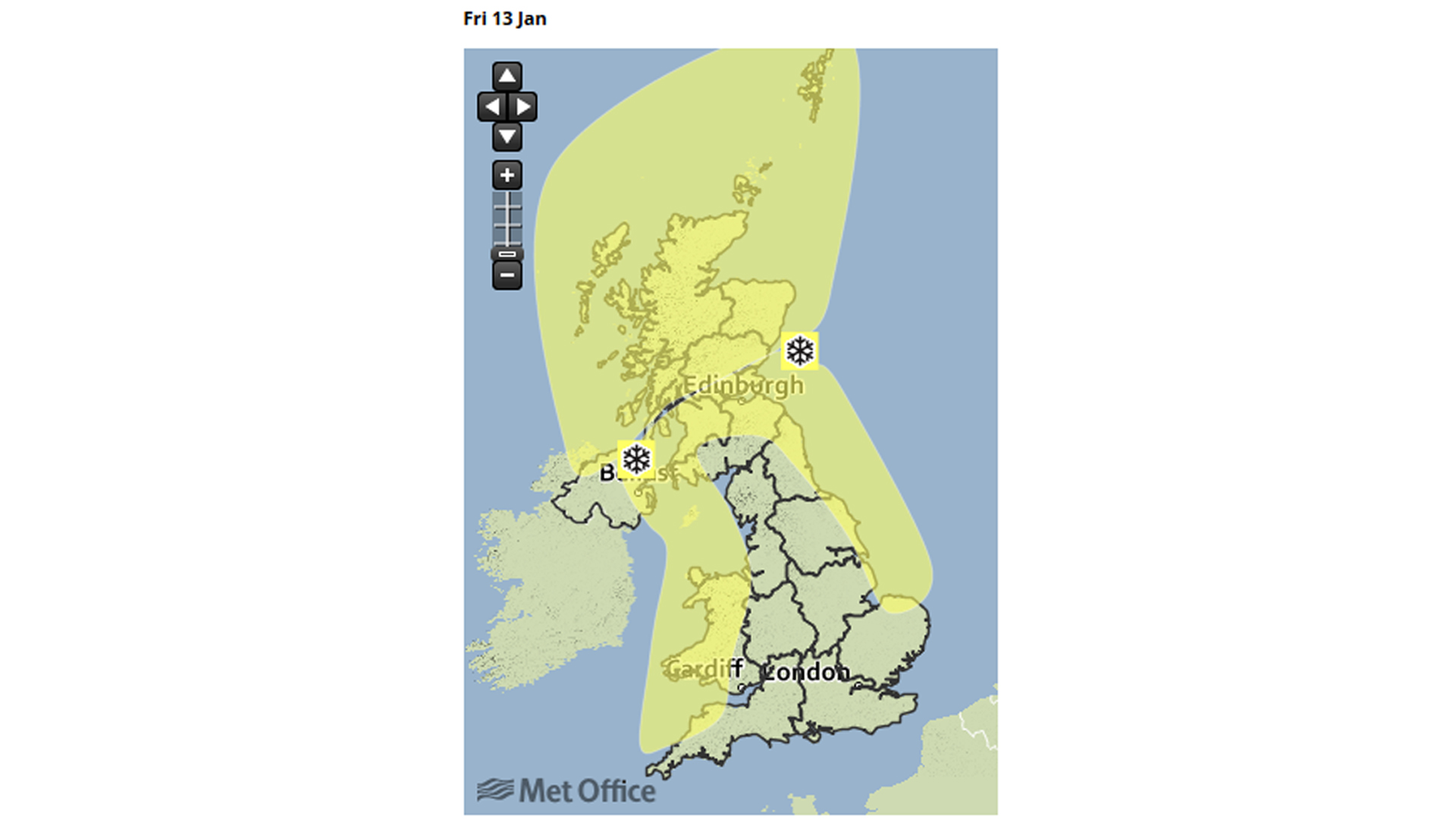 Met office snow warning map