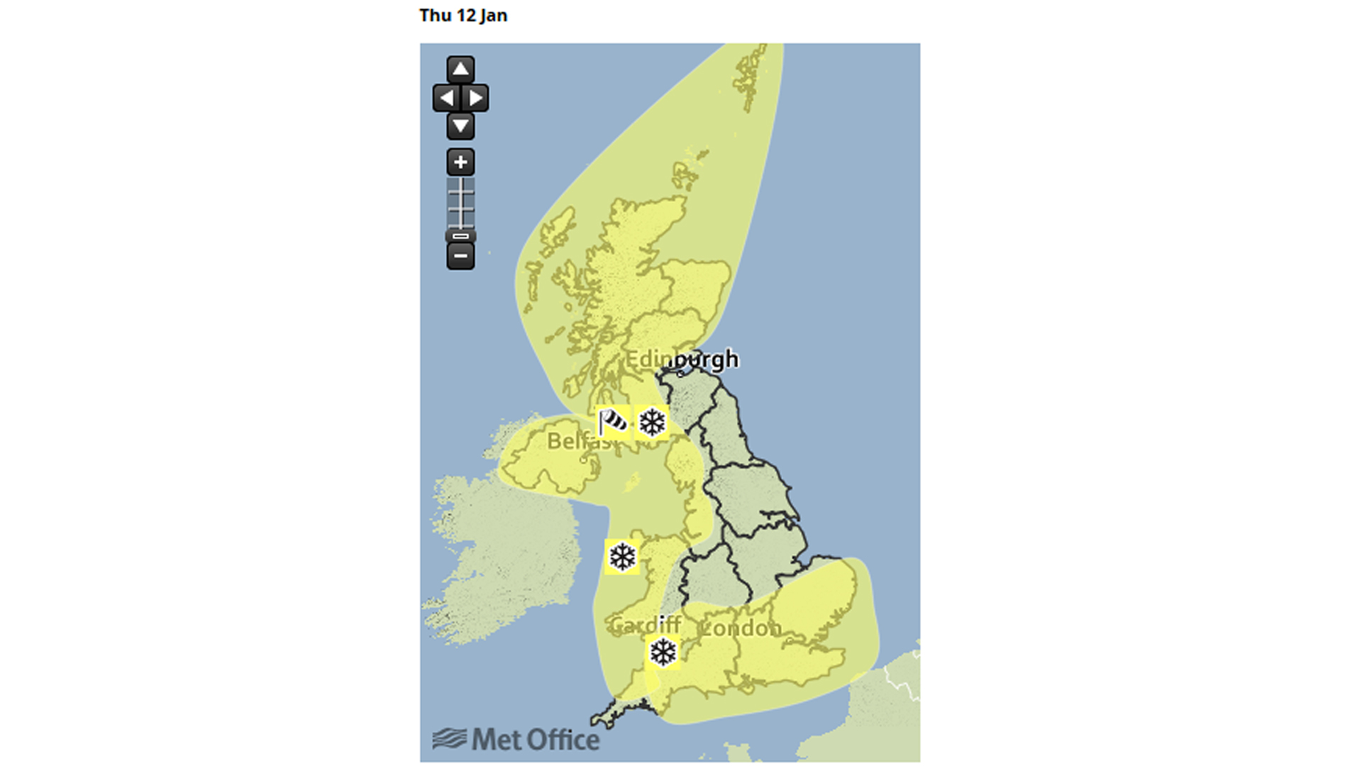 Met Office snow warnings for Thursday
