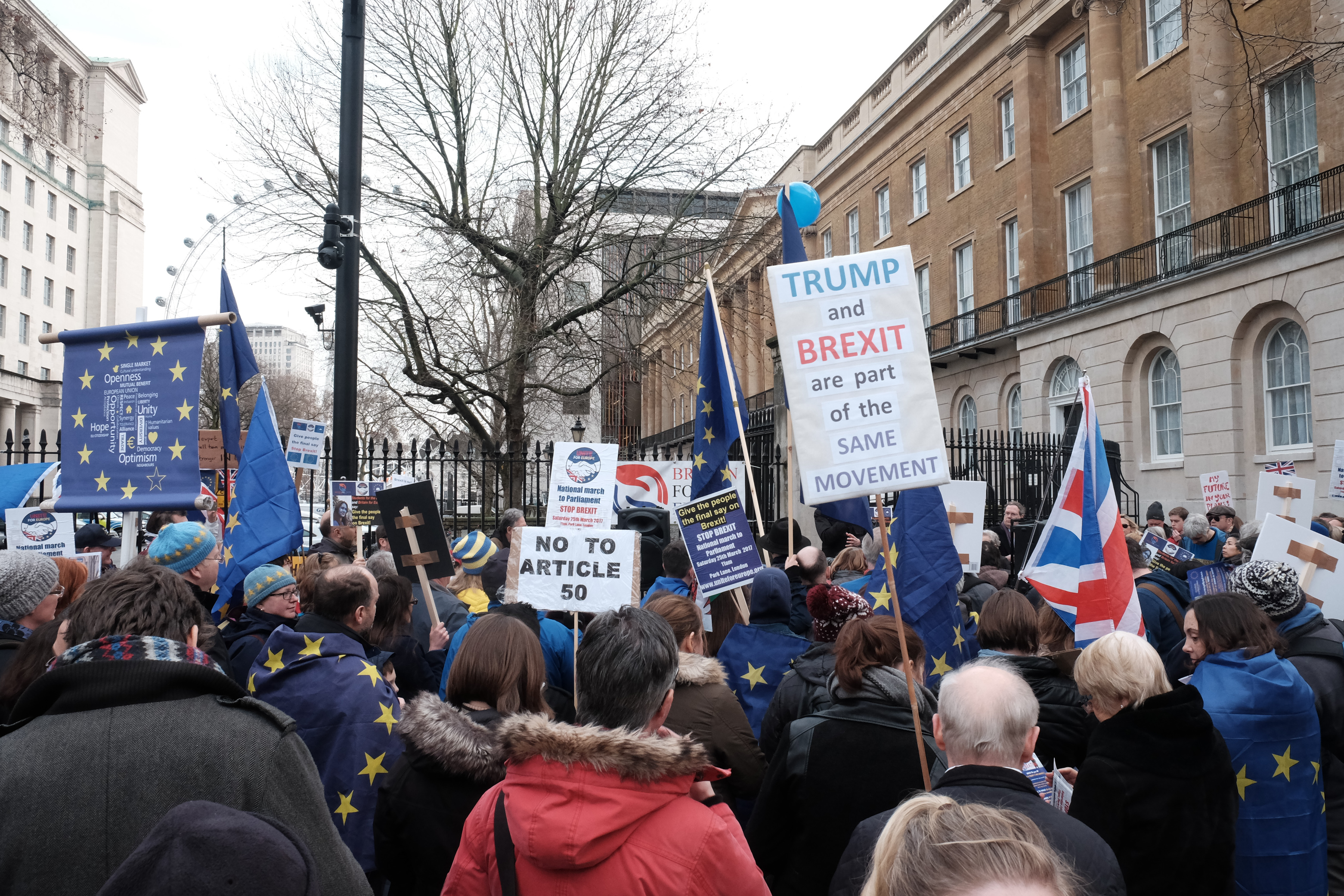 Demonstrators hold anti-Brexit and anti-US President Donald Trump placards as they protest outside Downing street in London on February 4, 2017. (Photo by Jay Shaw Baker/NurPhoto via Getty Images)